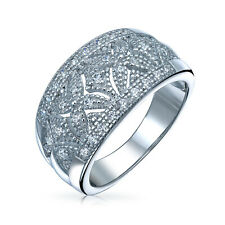 Bling Jewelry Pave CZ Vintage Style Hugs and Kisses Band Sterling Silver Ring