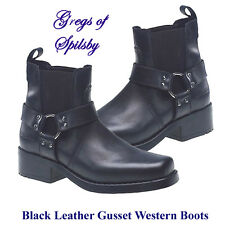 Mens Black Leather American Style Low Western Harness Boots, Sizes 6-12