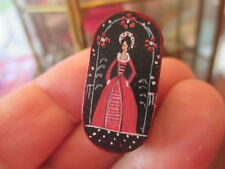 Dollhouse Miniatures Oval Shaker Box Painted w/ Woman, Signed, 1984 Lois Wasick