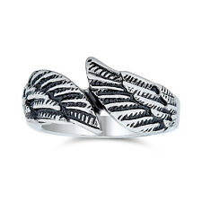 Angel Wing Feather Bypass Band Ring Stainless Steel