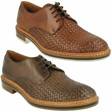 GRIMSBY CRAFT MENS CLARKS LEATHER WOVEN DETAIL LACE UP SMART FORMAL SHOES SIZE