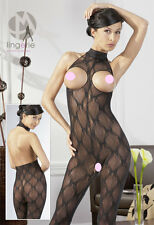 Mandy Mistery Lingerie Intimo Donna Sexy Catsuit Ouvert Nera con Collare