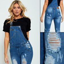 WOMENS LADIES STRETCH RIPPED DISTRESSED DENIM DUNGAREES JUMPSUIT SKINNY JEANS