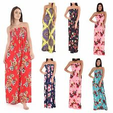 WOMENS LADIES FLORAL STRETCH ELASTICATED BUST BANDEAU MAXI DRESS PLUS SIZE 8-26