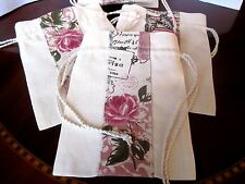 Shabby Chic Flowers ribbon applique Drawstring Gift,Jewellery,Favour Linen bag