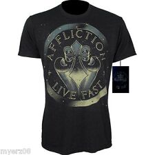AFFLICTION GALATICA Studded Fleur-de-lis T shirt New Black UFC MEDIUM or XL Tee
