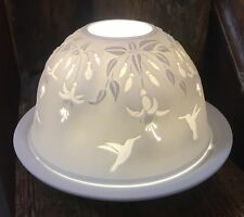 Light-Glow Fuchia and Humming Bird Tealight Holder Candle Dome Ceramic Boxed