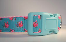 Floral dog collar, Large dog collar, Turquoise dog collar, beautiful dog collar,