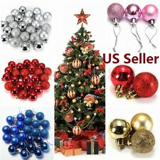 US SHIP 24pcs Christmas Tree Xmas Balls Decorations Baubles Party Ornament
