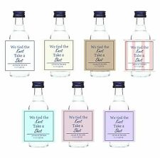 50 X MINATURE BOTTLE STICKERS FAVOURS WEDDING TIED THE KNOT SHOT LABELS STICKERS