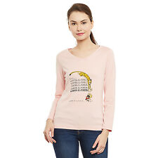 Pink color V-neck full sleeve women tee with chest print