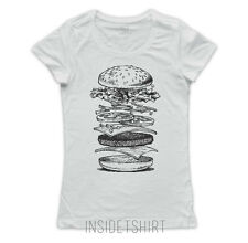 MAGLIETTA HAMBURGER maglia donna panino fast food burger meat lover T-SHIRT GIRL