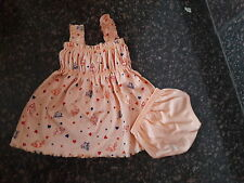 NewBorn Infant Baby girl Dress frock with bloomers 0-6M 100%cotton printed
