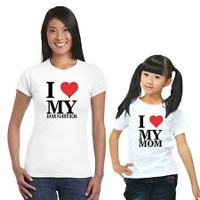 I Love Mom and Daughter T-shirts set of 2
