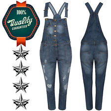 New Ladies Dark Blue Acid Wash Denim Dungaree Dungarees Jeans Mid Bib Overalls