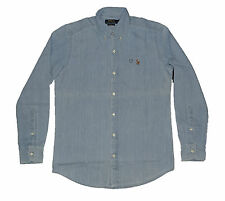 Men's Polo Ralph Lauren Slim Fit Long Sleeve Shirts - Denim Light Wash