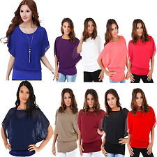 New Ladies Loose CHIFFON Oversized 2 IN 1 BATWING Celebrity Blouse Tank TOP 8-22