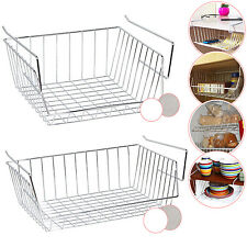 KITCHEN UNDER SHELF STORAGE BASKET RACK WIRE MESH CABINET SHELF TABLE ORGANIZER