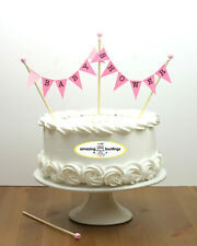 Baby Shower-Bunting Cake Topper-Pink Pastel-Cake Banner Decoration-UK Made