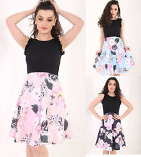 New Womens Ladies Contrast Floral Print Frill Sleeve Flared Skater Dress UK 8-18