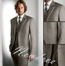 Gray Men's Wedding Suits 3Pcs Groom Tuxedos Formal Groomsman Lapel Custom Made