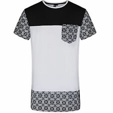 SOUL STAR MENS BLACK DELTA EXTRA LONG STYLE T-SHIRT TOP RRP£19.99 SAVE 52%