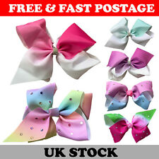 12pcs Large Hair Bow Rainbow Bows Dance Moms girls accessories clips 8 & 5 Inch