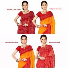 Combo Printed Bandhej Yellow & Maroon Sari 5.25 m Georgette Saree Without Blouse