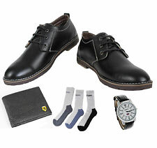 COMBO YELLOW TREE BLACK SHOES+REEBOK WATCH+BRANDED WALLET+HUSH PUPPIES SOCKS
