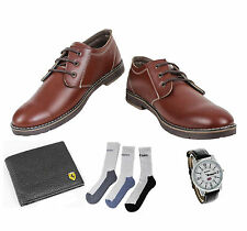 COMBO YELLOW TREE BROWN SHOES+REEBOK WATCH+BRANDED WALLET+HUSH PUPPIES SOCKS