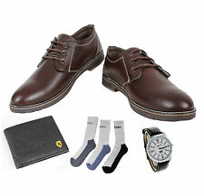 COMBO YELLOW TREE BROWN SHOES+REEBOK WATCH+BRANDED WALLET+HUSH PUPPIES SOCKS-(2)
