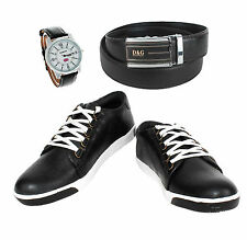 SHOES COMBO YELLOW TREE BLACK SHOES+REEBOK WATCH+BRANDED BLACK LEATHER BELT