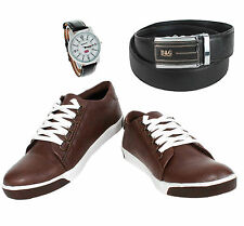 SHOES COMBO YELLOW TREE BROWN SHOES+REEBOK WATCH+BRANDED BLACK LEATHER BELT
