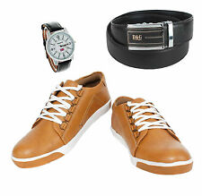 SHOES COMBO YELLOW TREE TAN SHOES+REEBOK WATCH+BRANDED BLACK LEATHER BELT