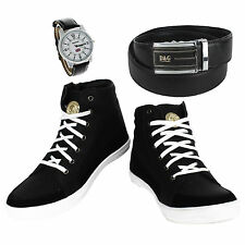 SHOES COMBO YELLOW TREE BLACK SHOES+REEBOK WATCH+BRANDED LEATHER BLACK BELT