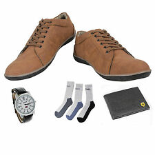SHOES COMBO YELLOW TREE BROWN SHOES+REEBOK WATCH+BRANDED WALLET+3 PAIR SOCKS