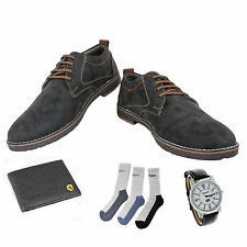SHOES COMBO YELLOW TREE BLACK SHOES+REEBOK WATCH+BRANDED WALLET+3 PAIR SOCKS