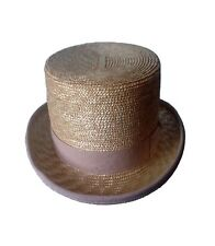 CAPPELLO A CILINDRO IN PAGLIA NATURALE, STRAW NATURAL TOP HAT ZYLINDER HUT