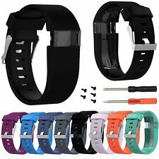 Silicone Wrist Band Sport Strap + Pry Tool for Fitbit Charge HR Tracker S/L Size