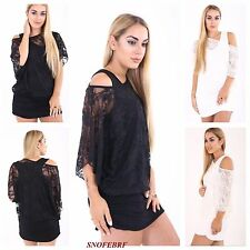 WOMENS LADIES FLORAL LACE OFF SHOULDER 2 IN 1 TUNIC BATWING TOP PLUS SIZE 8-26