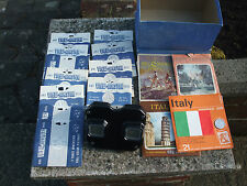VIEW MASTER BAKELITE STEREO VIEWER IN BLACK COMES IN BOX WITH 21 REELS