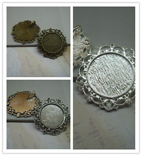 5/15pcs Antique Silver Tone Alloy Lace circular Cameo Setting Inner Size:25mm