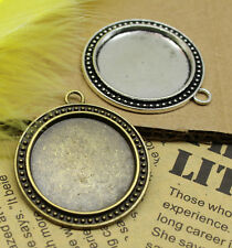 3/15pcs Antique Silver Tone Alloy Lace circular Cameo Setting Inner Size:30mm