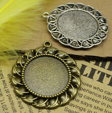 2/10pcs Antique Silver Tone Alloy Lace circular Cameo Setting Inner Size:30mm