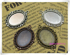 6/24pcs Antique Silver Tone Alloy Lace circular Cameo Setting Inner Size:18x25mm