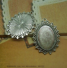 8/24pcs Antique Silver Tone Alloy Lace circular Cameo Setting Inner Size:18x25mm