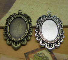 2/10pcs Antique Silver Tone Alloy Lace circular Cameo Setting Inner Size:18x25mm