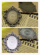2/10pcs Antique Silver Tone Alloy Lace circular Cameo Setting Inner Size:30x40mm