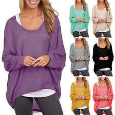 Oversized Womens Loose Long Sleeve Shirts Batwing Jumper Blouse Baggy Tops Plus