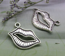 12/60pcs 19x23mm Lovely delicate Sexy lips heavy charm pendant antique silver